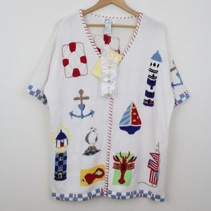Quacker Factory Nautical Embroider S/S Sweater